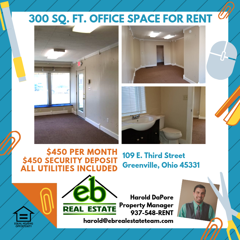 Office Space For Rent 450 Per Month 450 Security Deposit All Utilities Included In Rent Call Eb Real Estate Property Management Real Estate Office Space