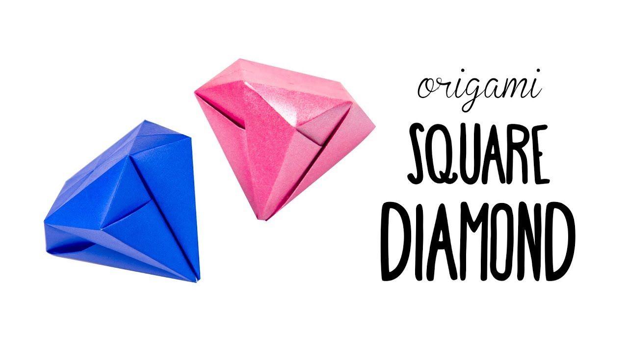 Easy Origami Square Diamond Tutorial No Glue Paper Kawaii
