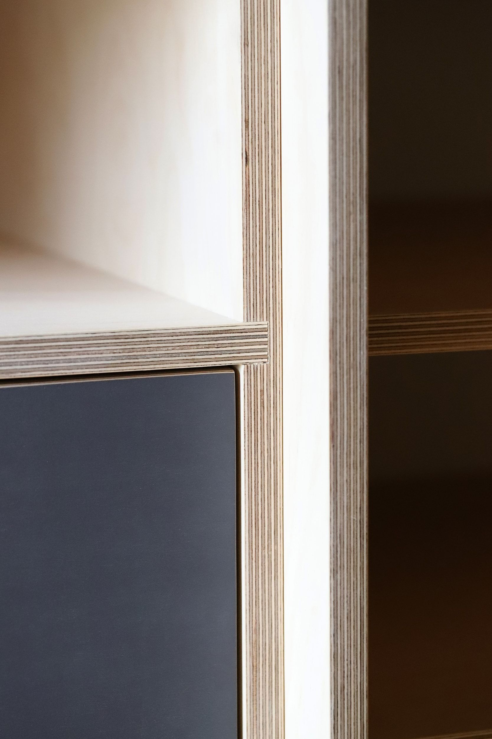 Joinery details from Samir's bespoke plywood by Lozi in his home in Bexley