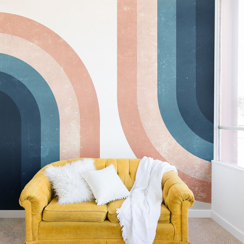 70s Rainbow Wall Mural Emanuela Carratoni Wall Murals Bedroom Wall Murals Diy Diy Wall Painting