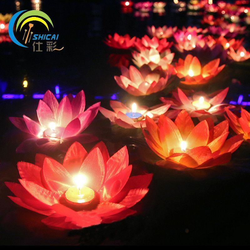 Romantic Valentines Day Gift Lotus Wishing Lamp Votive Candle Floating Birthday Water Lantern Wedding Decoration