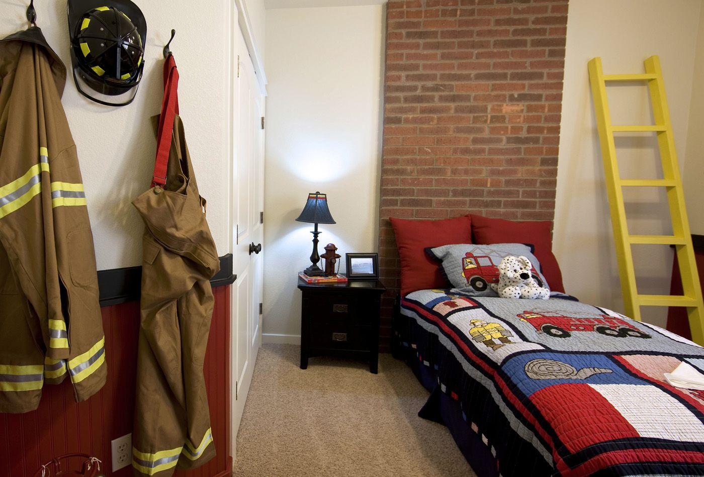 Fireman Hat, Coat And Pants Hung Up. Love That Idea