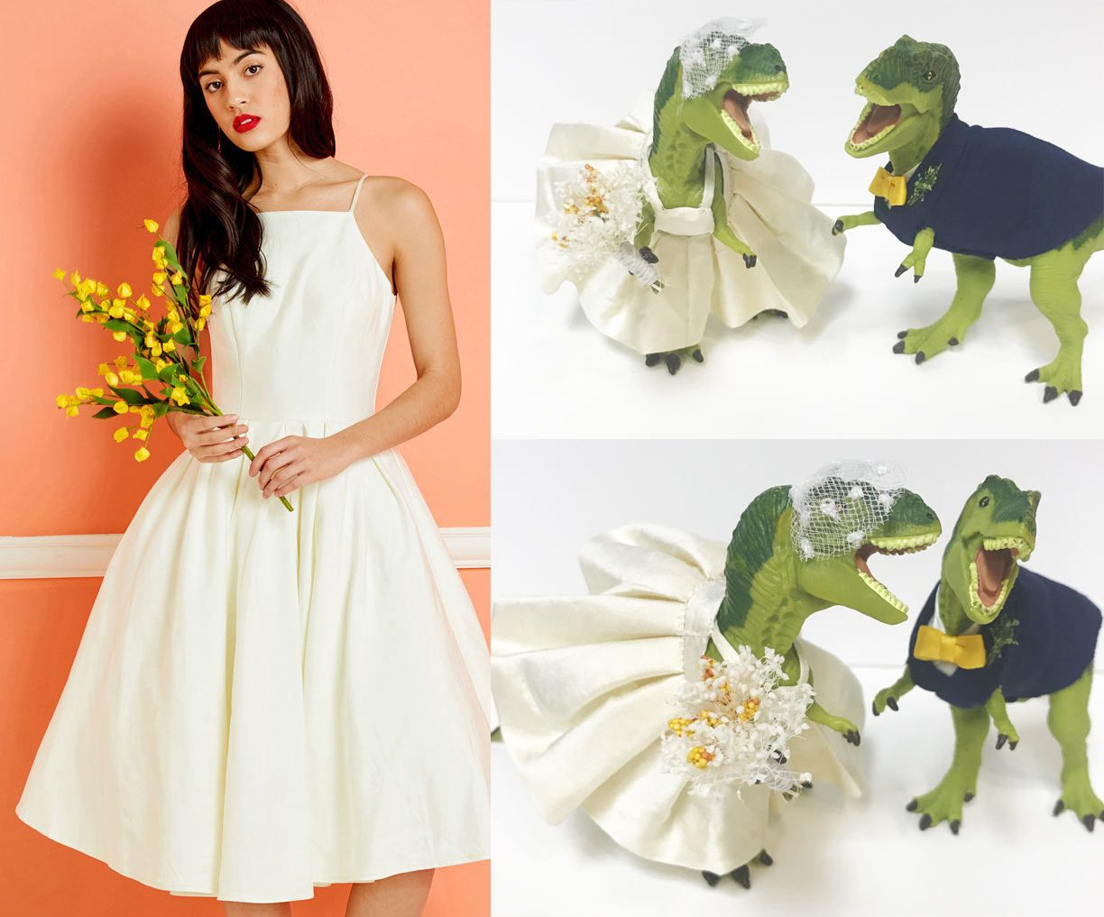 Customizable Dinosaur Send Me An Image Of Your Wedding Dress And I Will Make The Dinosaurs D Dinosaur Wedding Etsy Wedding Dress Dinosaur Wedding Cake Toppers