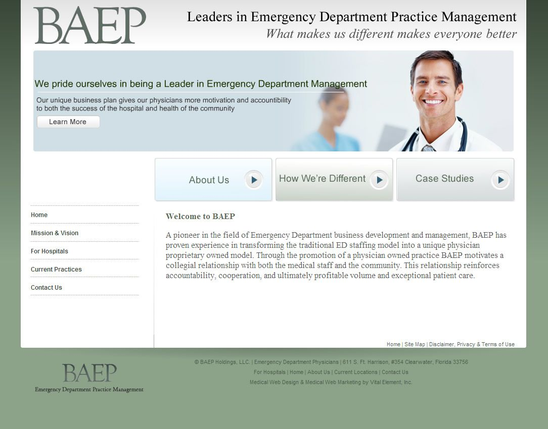 Http Www Baepgroup Com Index Html Baep A Pioneer In The Field Of Emergency Department Business Emergency Department Medical Specialties Practice Management