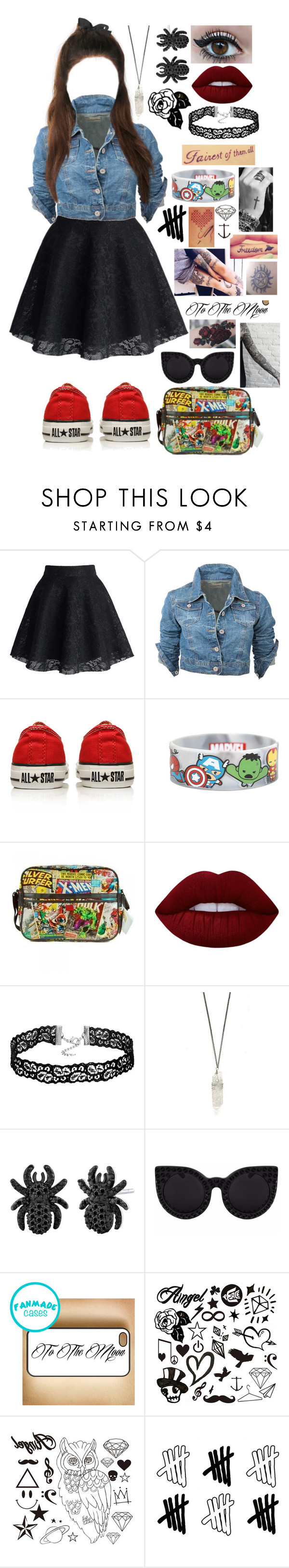 """""""Untitled #541"""" by skh-siera18 ❤ liked on Polyvore featuring Chicwish, Converse, Retrò, Lime Crime, Delalle, Disney and Samsung"""