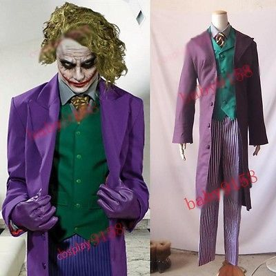 Dark Knight Rises Batman Joker Cosplay Costume pinstrip pants Halloween Party