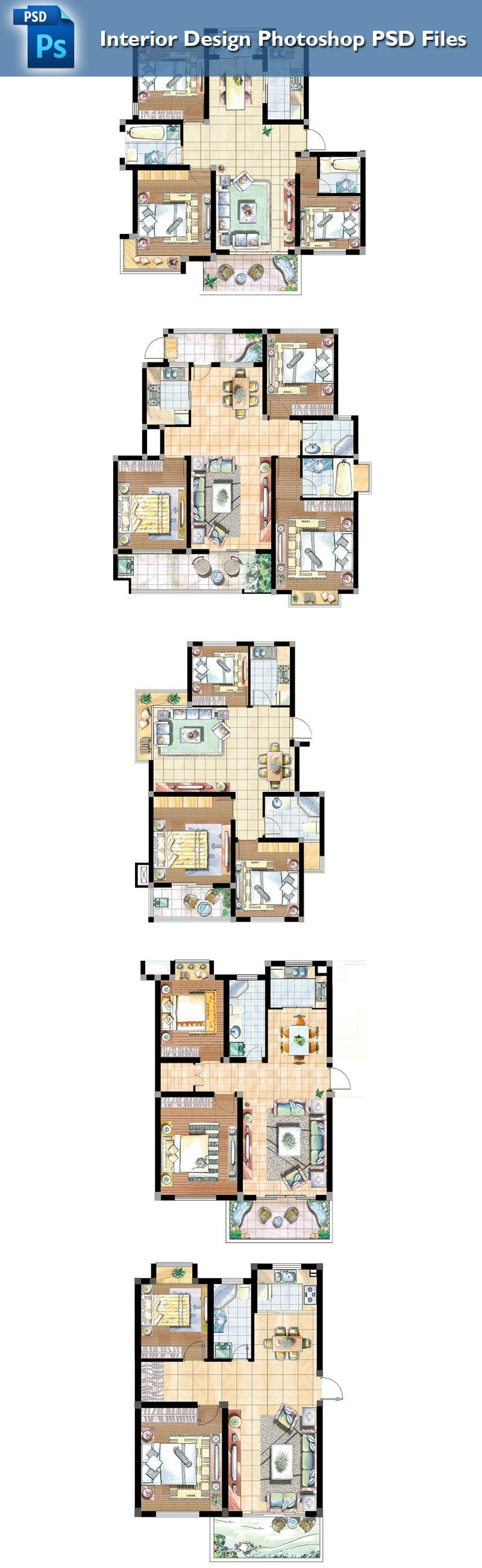 Interior Design Drawing Templates Part - 20: 15 Types Of Interior Design Layouts Photoshop PSD Template V.1