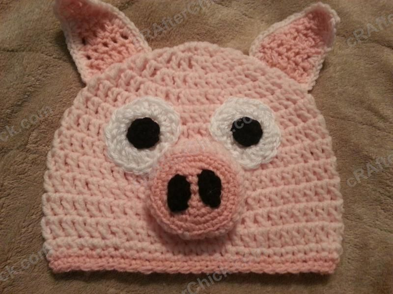Three Little Pig Storytime Crochet Beanie Pattern Laying Flat Not ...