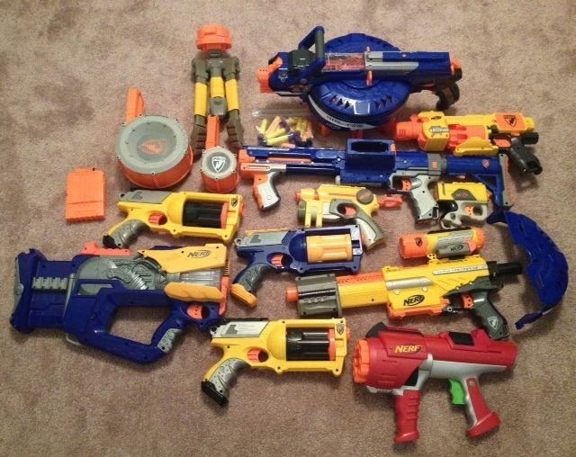 Nerf Gun Lot 11 Guns Hail Fire, Alpha Trooper, Raider, Fire Fly,