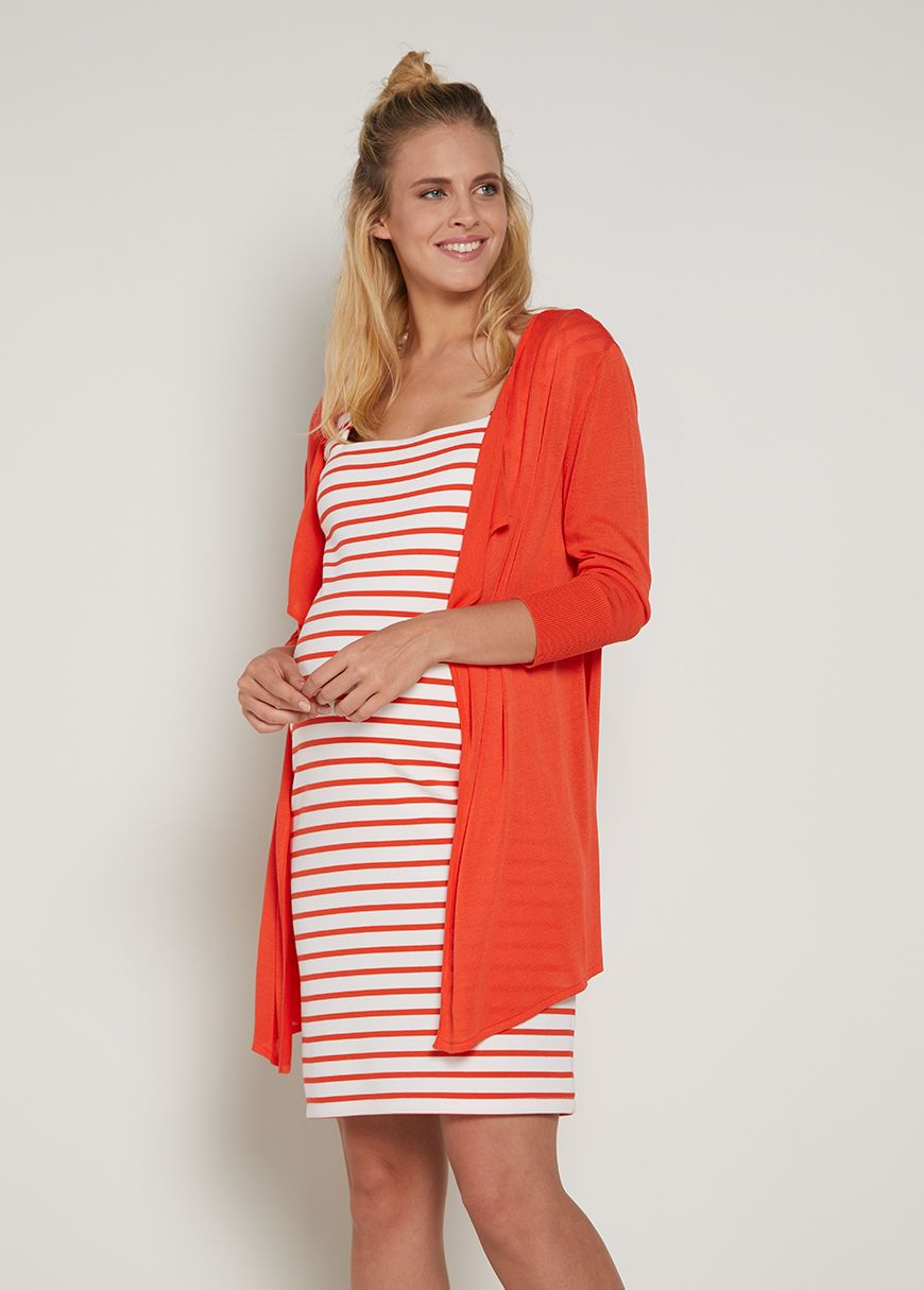 d6c176f81b Red   White striped maternity dress orange maternity cardigan expecting   style the bump