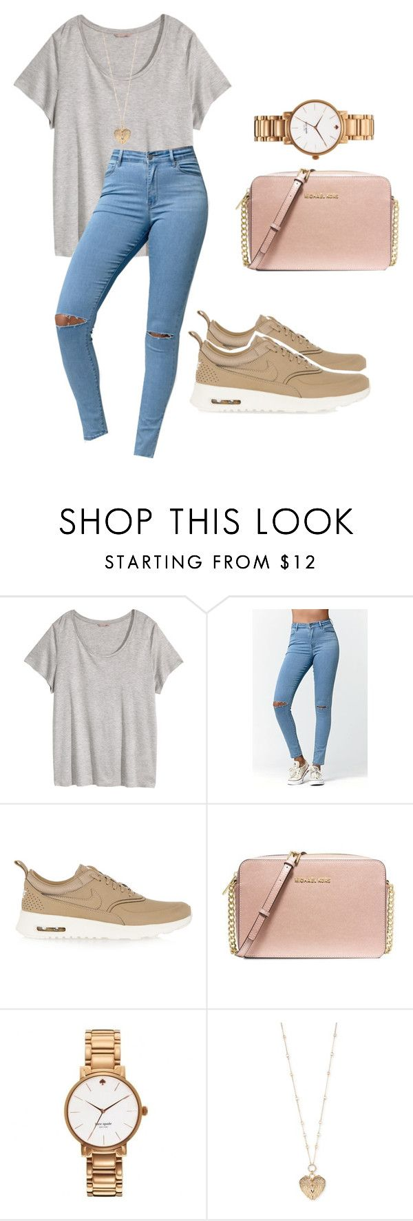 """""""Untitled #33"""" by sweetgeorgiapeaches ❤ liked on Polyvore featuring H&M, Bullhead Denim Co., NIKE, MICHAEL Michael Kors, Kate Spade and Betsey Johnson"""