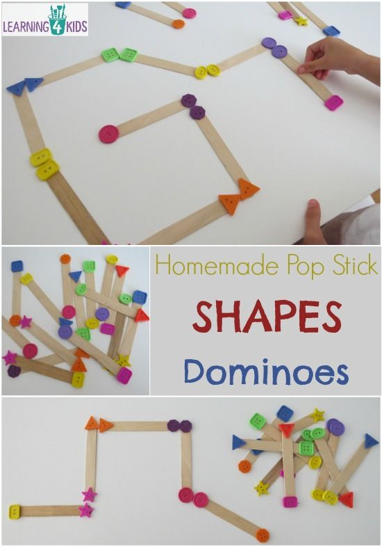 DIY Pop Stick Shape Dominoes Game #games