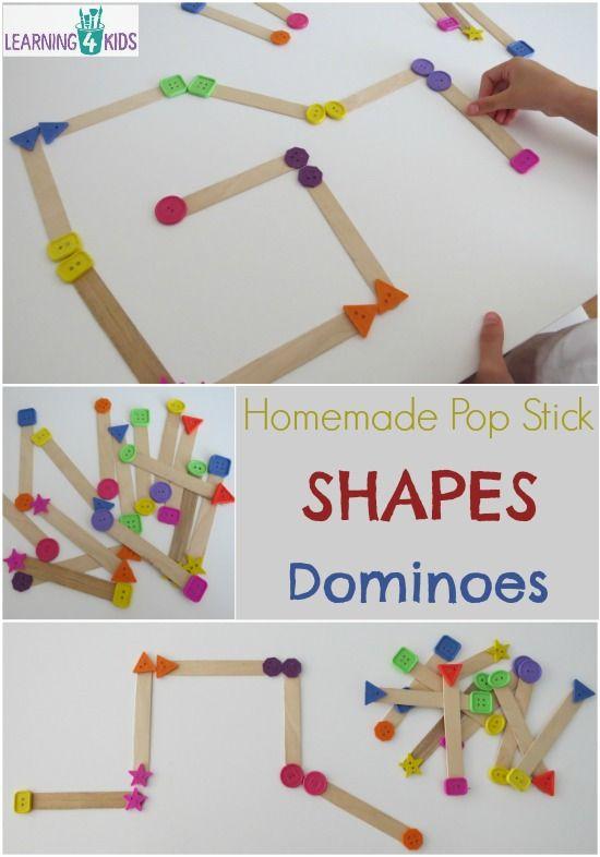 diy pop stick shape dominoes game domino spiele st bchen und vorschule. Black Bedroom Furniture Sets. Home Design Ideas