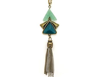 Jade Long Necklace, Tassel Necklace, Fringe Long Necklace, Jade Semi Precious Stone Necklace, Beaded Necklace, Antique Necklace LN87