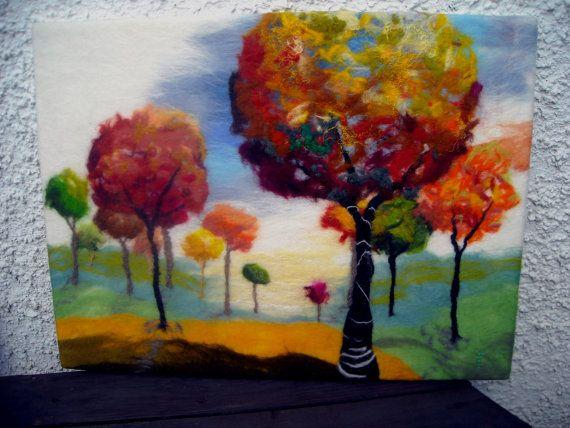 Felt Wall Art Contemporary Art Abstract Trees Fibre Art