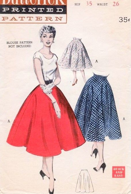 50s Butterick 6167 ROCKABILLY Quick and Easy Semi Circle Skirt ...