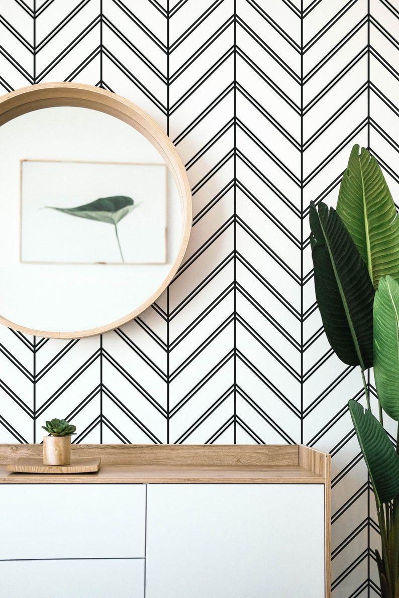 Black And White Chevron Pattern Removable Wallpaper Boho Etsy Removable Wallpaper Black And White Wallpaper Herringbone Wallpaper