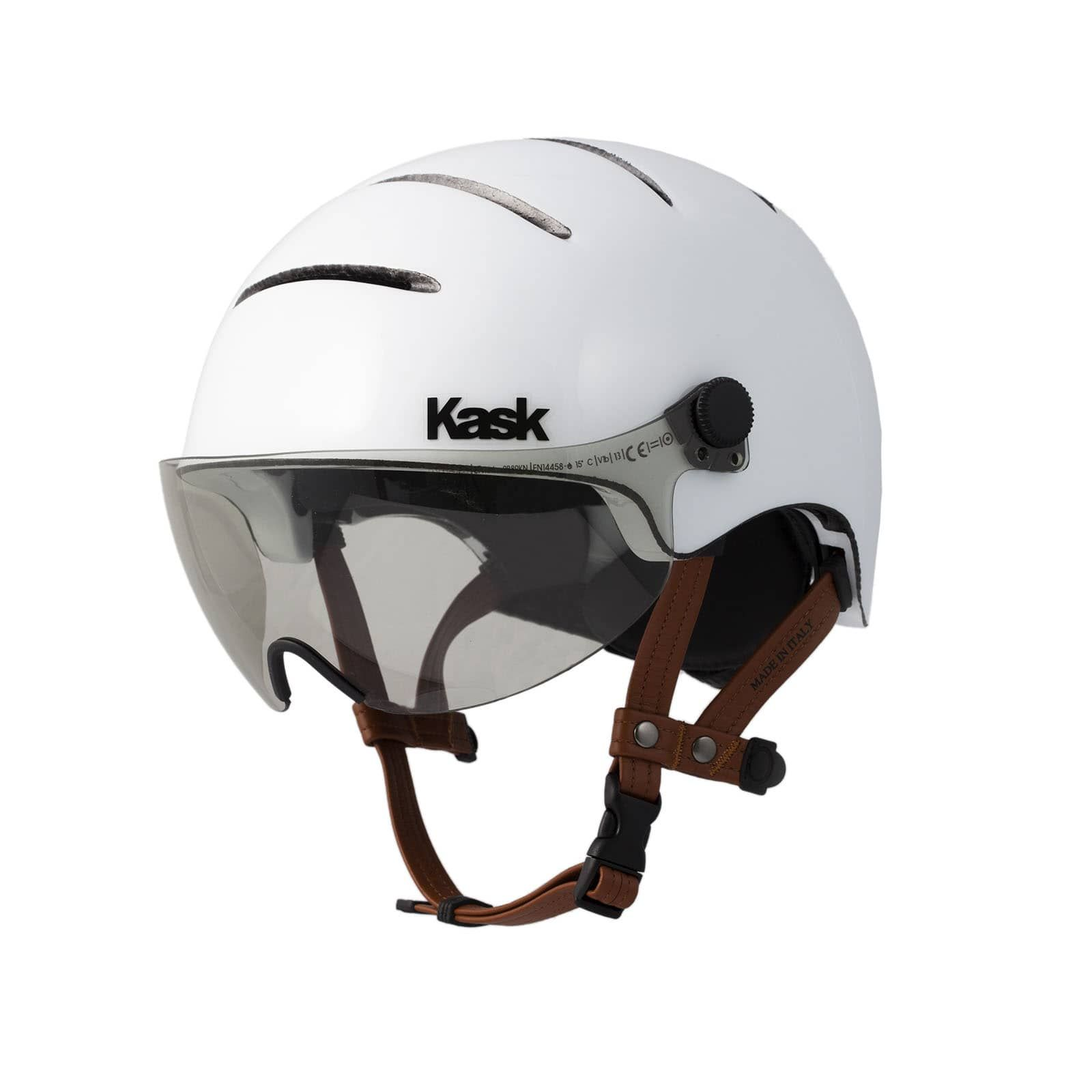 Urban Cycling Helmet With Leather Straps And Visor Lifestyle