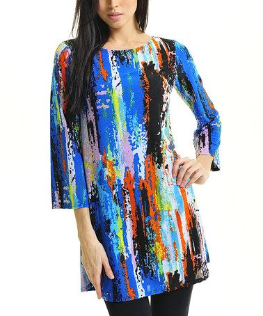 Take a look at this Blue & Red Abstract Boatneck Tunic by Zac Studio on #zulily today!