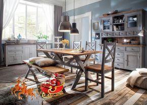 Esszimmer Landhausstil Byron Holz Massiv Grau mit Vintage Braun ...