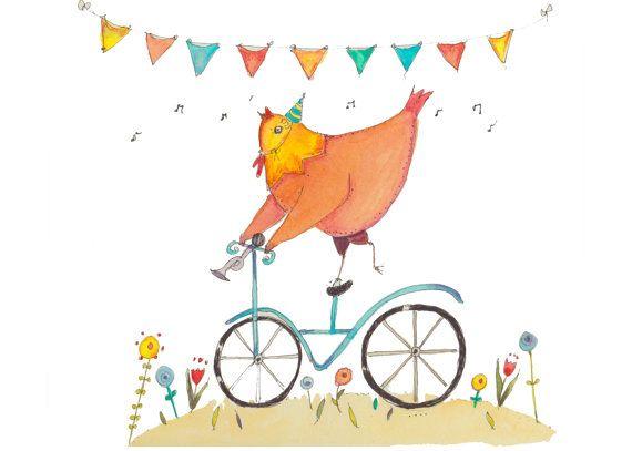 Children's wall art-Chicken-Flowers-5X7 by StrawberryPieDesigns