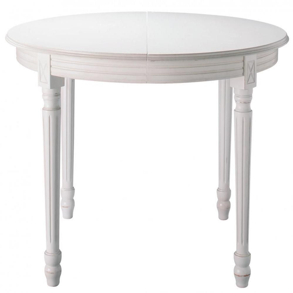 Table manger ronde extensible blanche d120 rallonges for Table blanche a rallonge