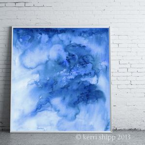 Abstract Print 'Ombre in Denim' 11x14 by Driftwood Interiors
