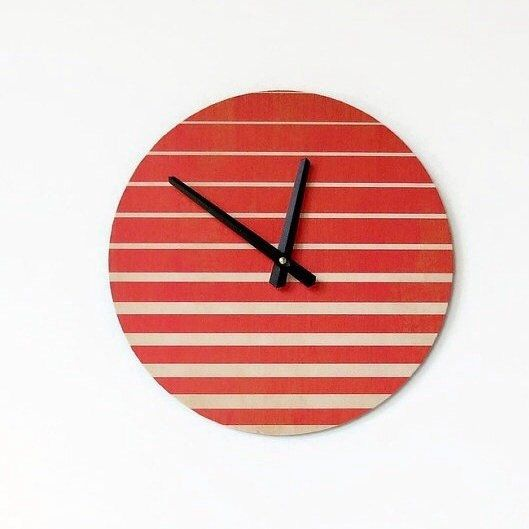 Loving this modern wall clock.  Give this clock to a male or female...it's sure to make a hit! #moderndecor #etsyfinds #etsyart #clocks #trendingdecor2016 #orangedecor