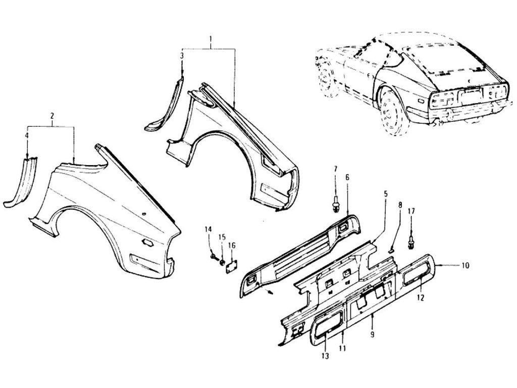 Datsun 240z Rear Fender Rear Panel Rear Panel Finisher To Jul 73 Datsun 240z Datsun Jdm