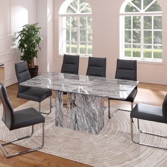 Moritz Marble Rectangular Dining Table With Stainless Steel Trim Dining Table Dining Table Marble Rectangular Dining Table