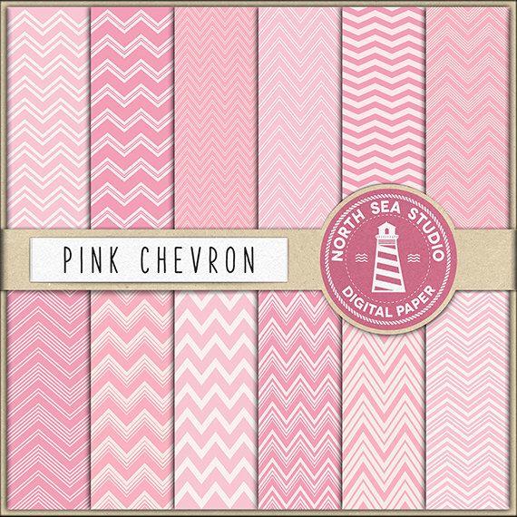 JUST A GIRL | Pink Chevron Digital Paper Pack | Scrapbook Paper | Printable Backgrounds | 12 JPG, 300dpi Files