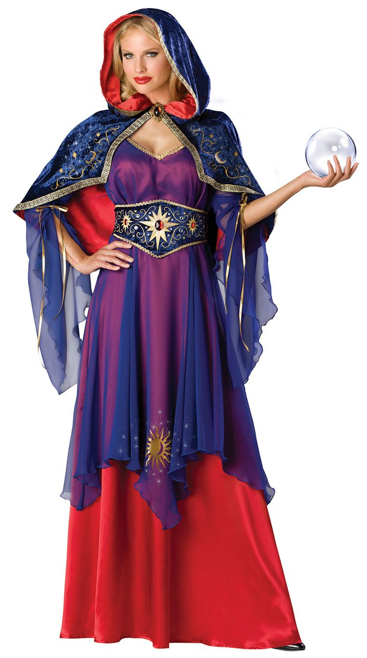 womens mystical sorceress costume incantations and bubbling potions are tricks of the trade for your sorceress dress the part in a full length satin and - Mystical Halloween Costumes