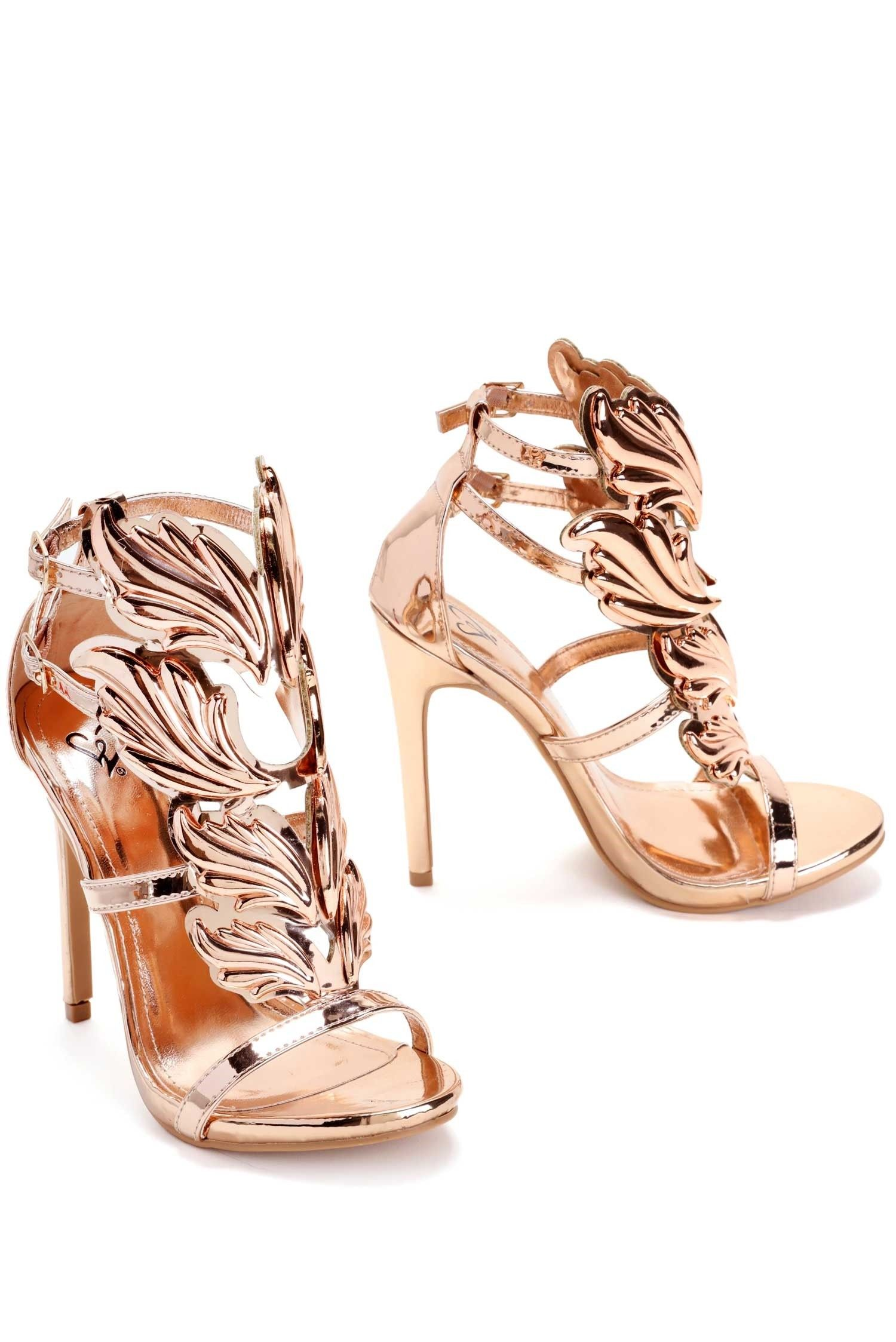 72eafd96be9 Rose Gold Winged Goddess Heels