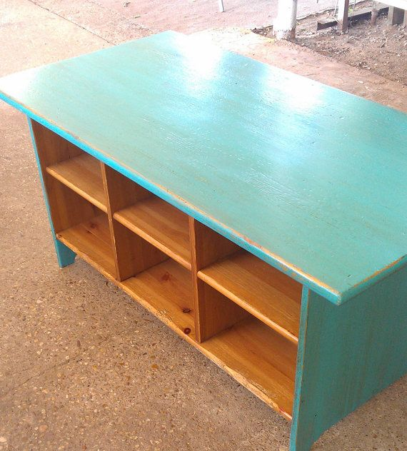 Cubby Hole Coffee Table Turquoise Dream Painted Furniture 150 00 Via Etsy