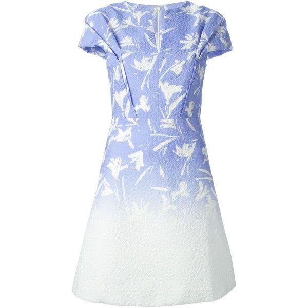 Blumarine Degradé Floral Print Dress ($1,028) ❤ liked on Polyvore featuring dresses, day dress, платья, white, flower printed dress, floral dresses, floral day dress, floral printed dress and white dresses