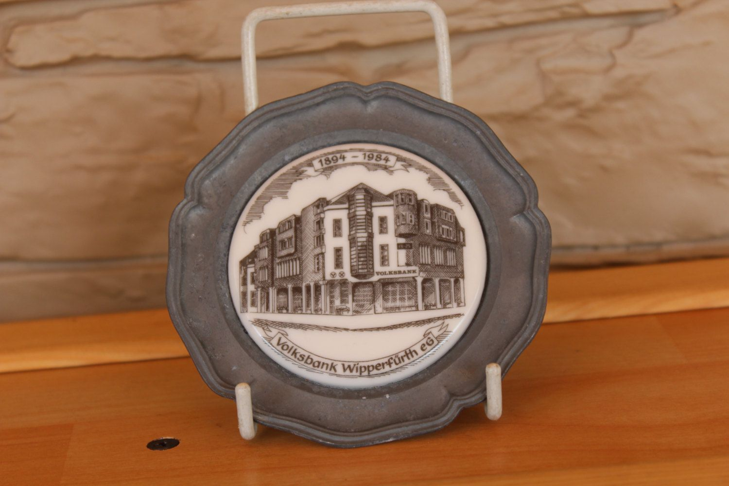 German pewter plate plate with ceramic building volksbank german pewter plate plate with ceramic building volksbank collectible plate wall hanging amipublicfo Choice Image