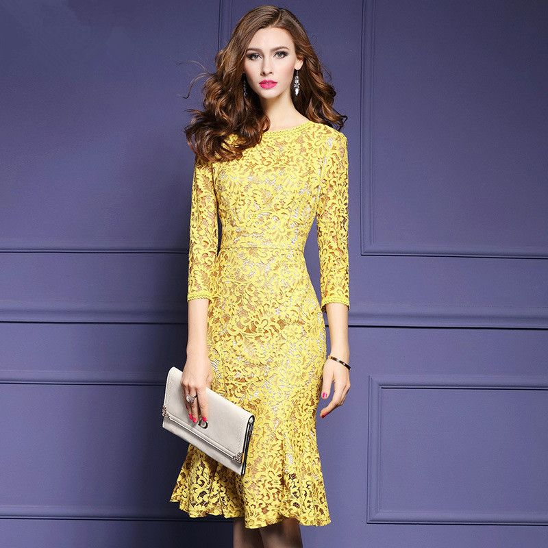 Spring Autumn Mermaid Yellow Lace Dresses Elegant 3/4 Sleeve Knee ...