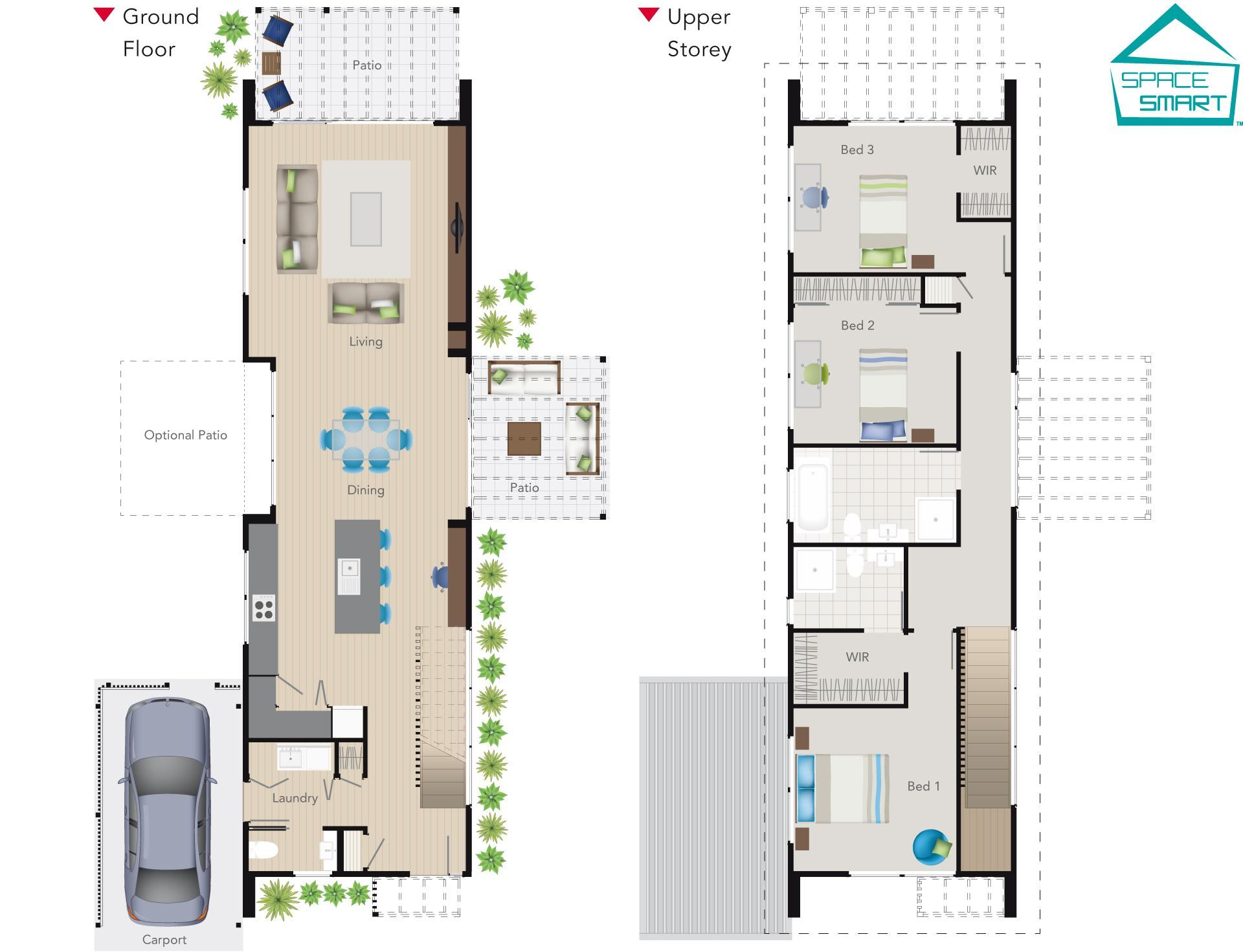 A narrow two story space smart house plan perfect for modern living on a small narrow section