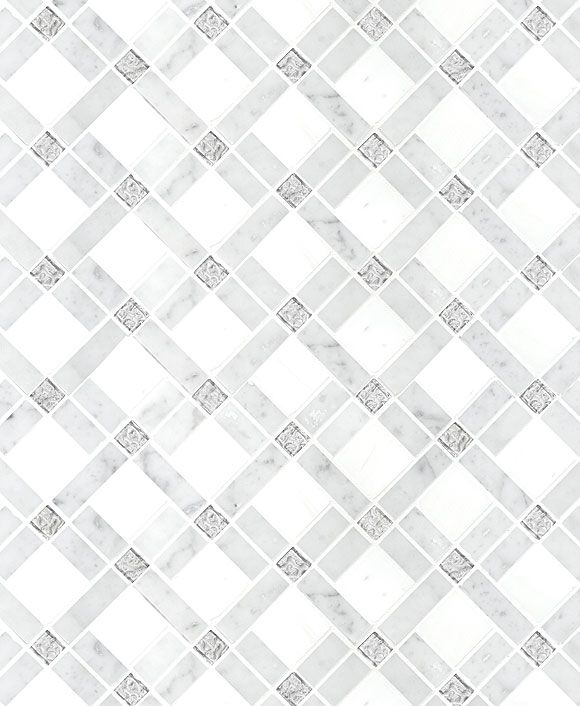 White Gray Diamond Style Mosaic Backsplash Tile With Gl Inserts Ba2001 From