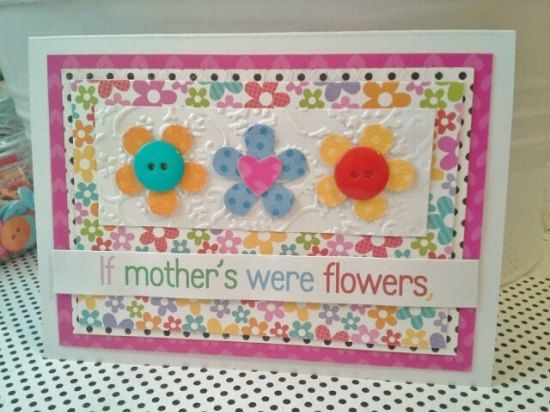 Mothers Day Card Handmade Whimsical flowers