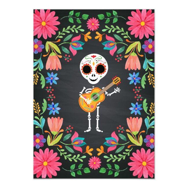Sugar Skull Day of the Dead Halloween Birthday Inv