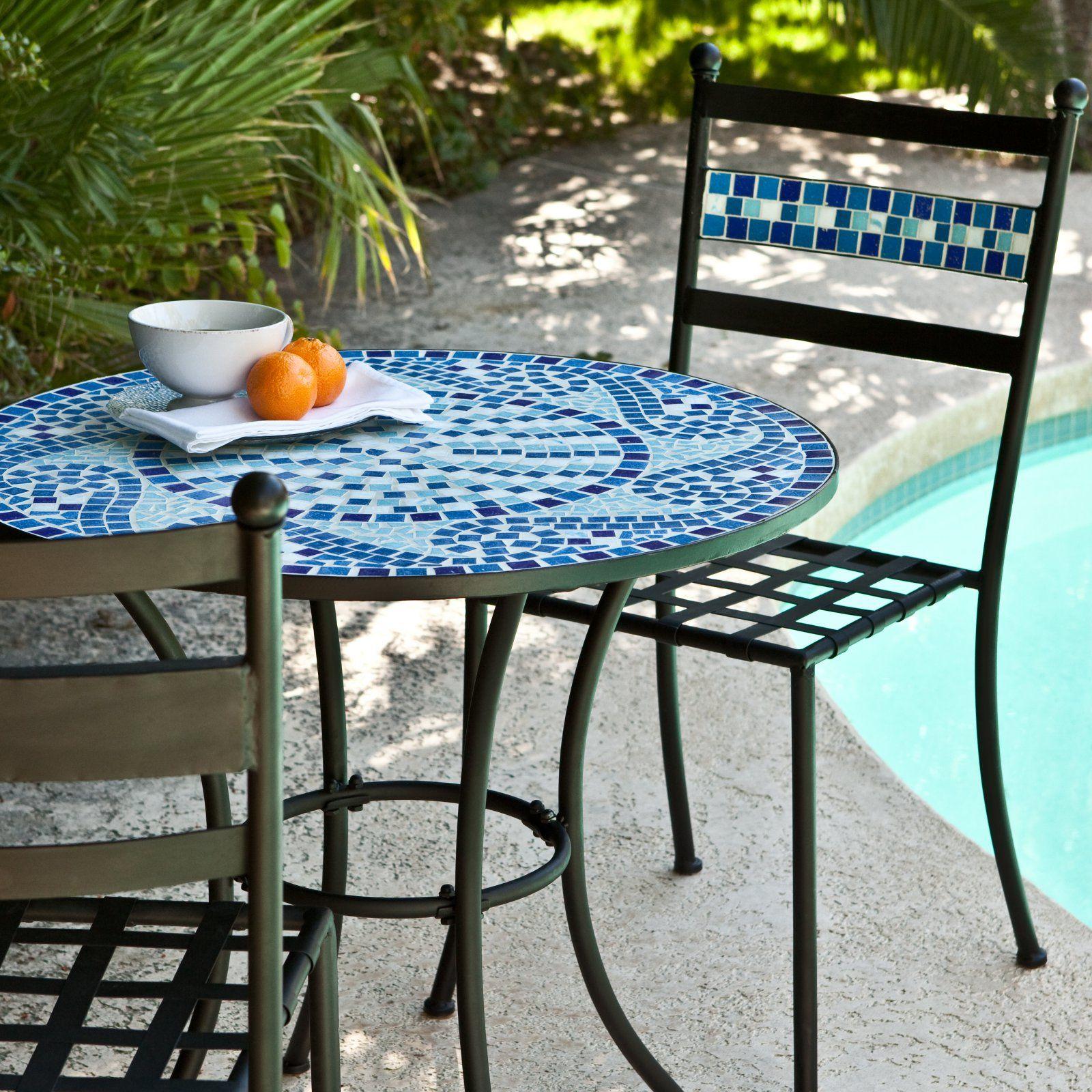 Outdoor Coral Coast Marina Mosaic Bistro Set Outdoor Patio