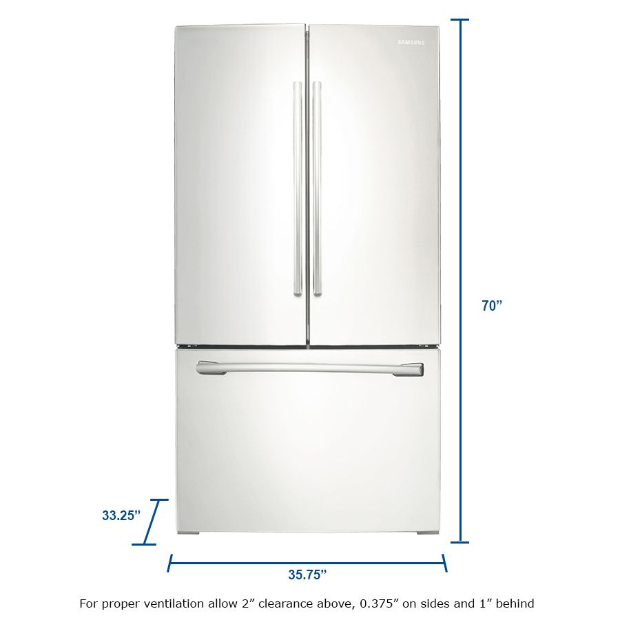 Samsung 25 5 Cu Ft French Door Refrigerator With Ice Maker White Energy Star Lowes Com French Door Refrigerator Fridge Dimensions Samsung Refrigerator French Door