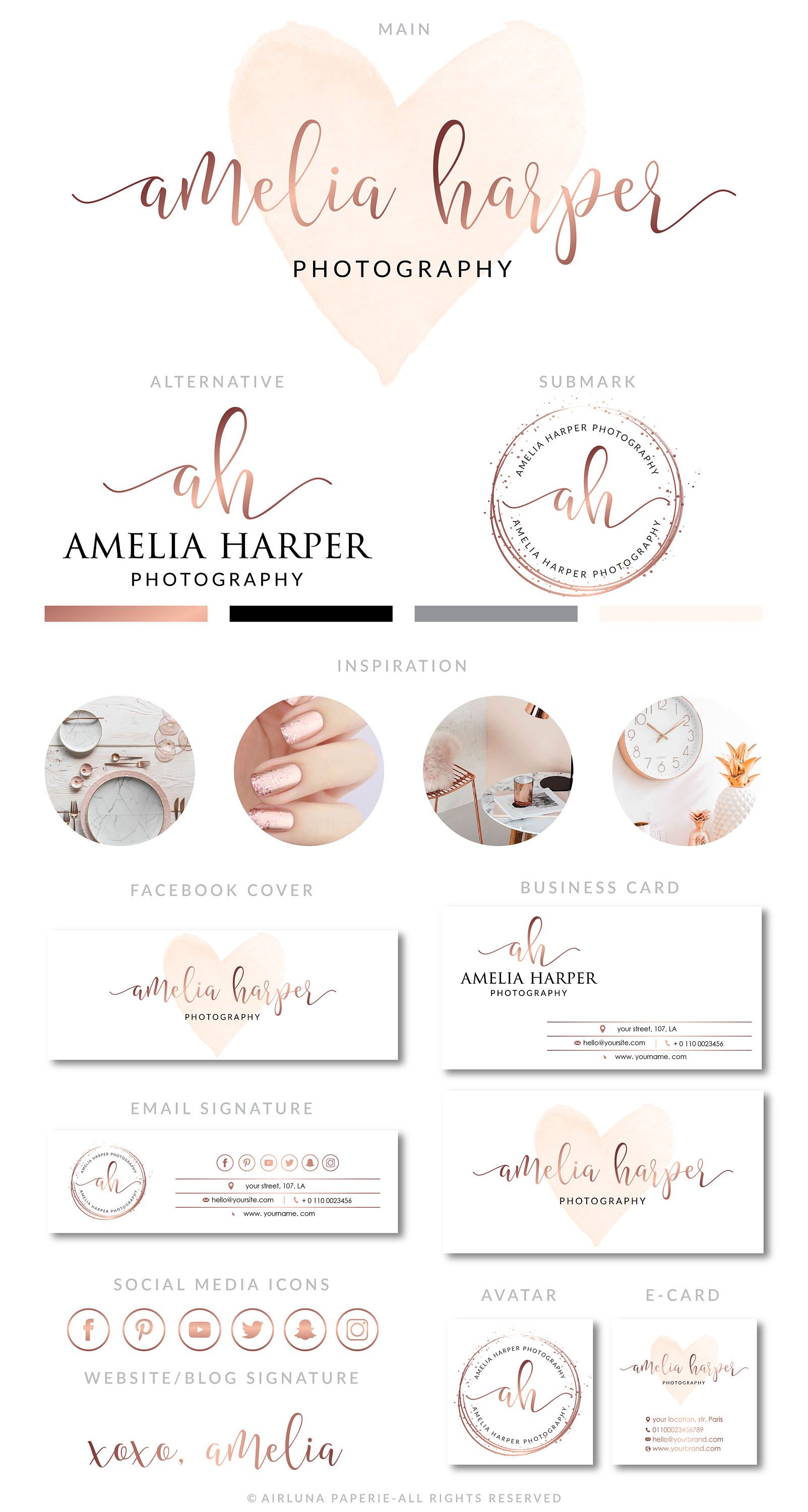 Branding Kit, Rose Gold, Watercolor Logo, Photography Logo