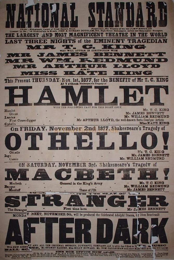 Vintage Theatre Poster National Standard November 1877 Theatre Poster Vintage Theatre Poster