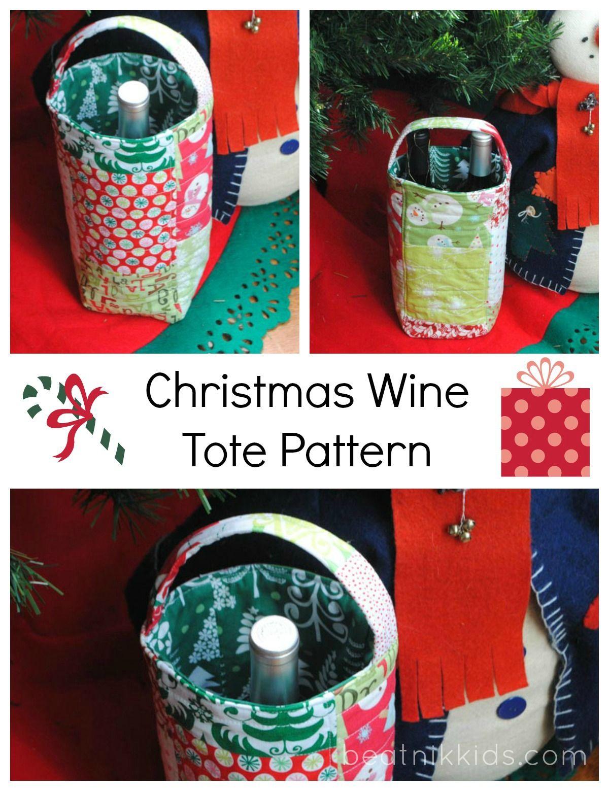 Christmas Wine Bottle Tote Wine Bottle Gift Bag Wine Bag Pattern Christmas Wine Bottles