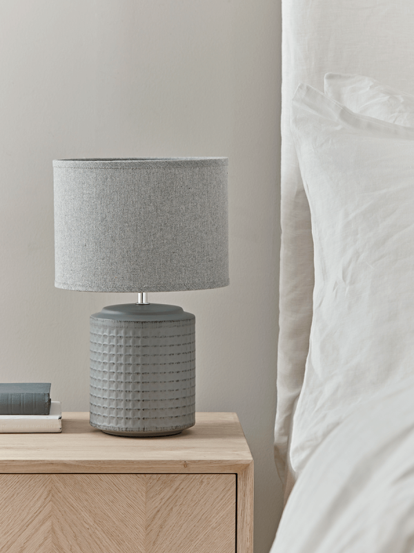Light Grey Bedside Table: NEW Textured Bedside Lamp - Grey In 2020