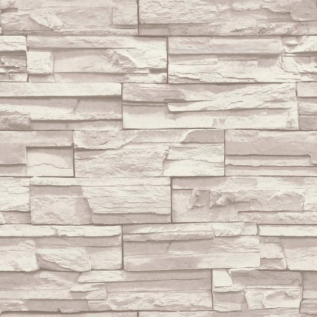 Flat Stone Wallpaper In Cream And Taupe By York