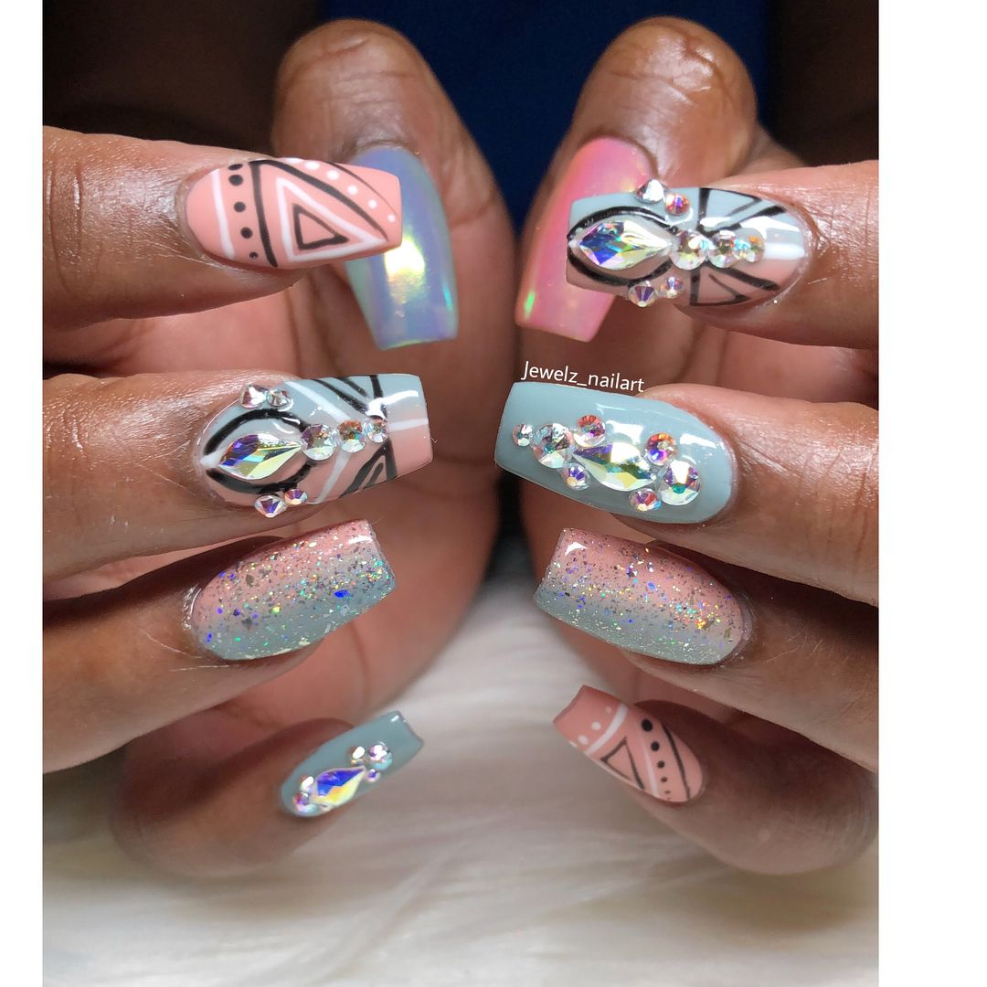 Birthday Boy Blam 3 By Nailesi: Beautiful Birthday Bling Set For Mimi 💅🏽💙💞 #nails #nailart