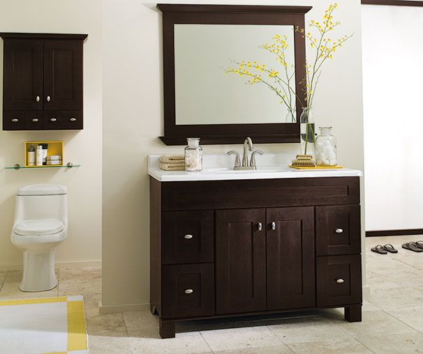 Dark Brown Bathroom Cabinetry Ideas And Inspiration At Value Prices Be Inspired By These Bathroom Bathroom Vanity Bathroom Decor White Vanity Bathroom